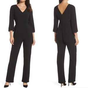 NWT Charles Henry   Black Wrap Jumpsuit Size XS